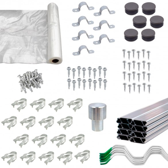 The Base Jiggly Greenhouse® Kit (Quantities Shown For 20' Kit)