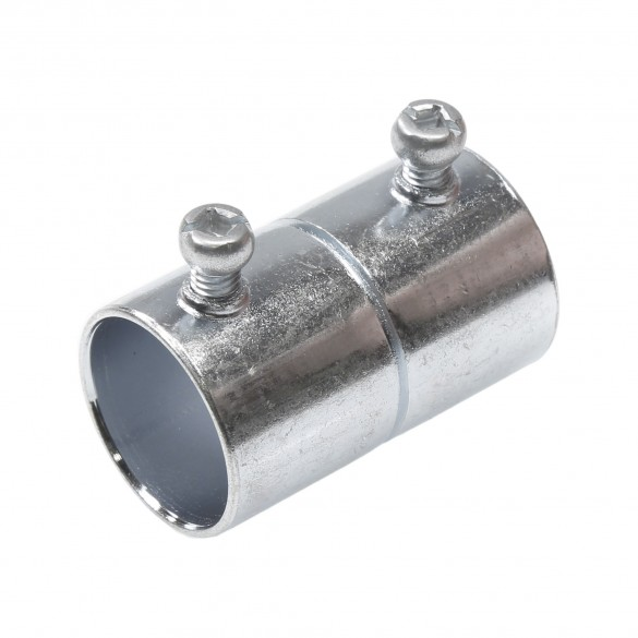"""3/4"""" [1"""" OD] EMT Conduit Set Screw Coupling for Roll Up Side Wall Ventilation (Steel) Jiggly Greenhouse®"""