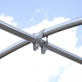 "1 5/8"" x 1 5/8"" Greenhouse Cross-Connector - Purlin Bracket (Galvanized Steel) Jiggly Greenhouse®"