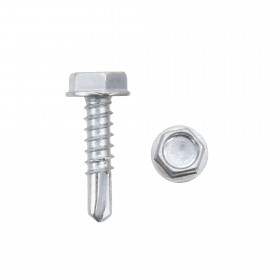 "Jiggly Greenhouse® 3/4"" #10 Hex Zinc Plated Steel Self-Tapping Tek Screw (Washer Head)"