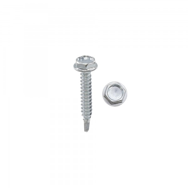 "1 1/4"" #10 Hex Zinc Plated Steel Self-Tapping Tek Screw (Washer Head)"