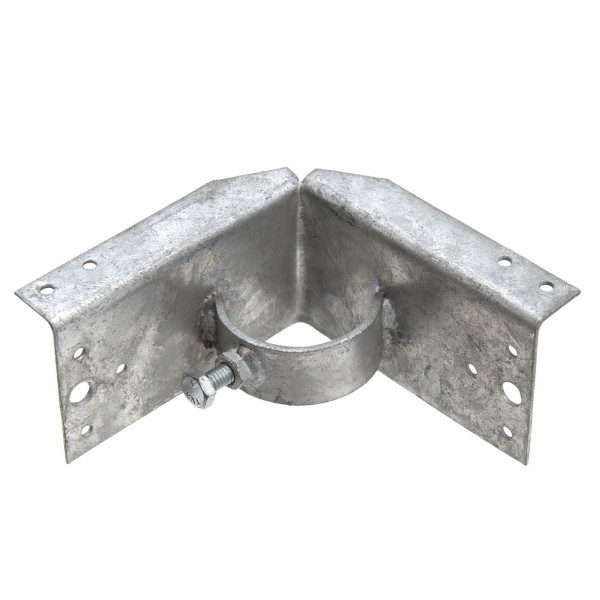 """Wooden Fence to Steel Post Corner Adapter 2"""" x 6"""" (Fits 1 7/8"""" OD)"""